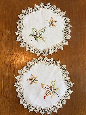 Vintage Hand Embroidered Linen Duchess Doily....DressIng dining Table Crochet