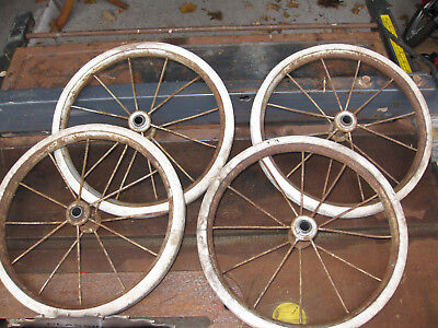Set Of 4 Vintage Buggy Cart Wagon Go Cart Wheels 12 Spokes Each