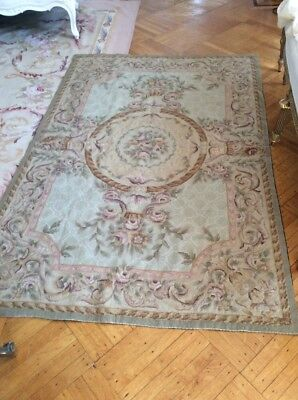 "Aubusson Rug needlepoint purple pink beige pastels ""french vtg style""  45"" x 70"""
