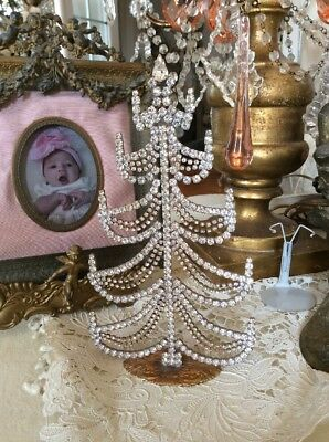 VTG STYLE Czech CHRISTMAS Tree FREE STANDING Rhinestone swags JEWELED frame