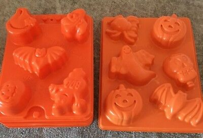 Jello Jiggler Halloween Pumpkin Ghost Bat Molds Lot Of 7
