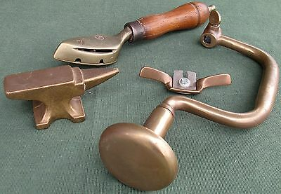 Grate lot of brass tools - non-spark brace, anvil, spokeshave, gas iron