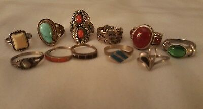VINTAGE STERLING SILVER RING LOT of 11 NATIVE AMERICAN Southwestern Jewelry