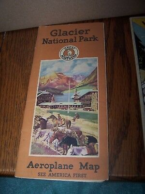Great Northern Railway Glacier National Park Aeroplane Map Folder