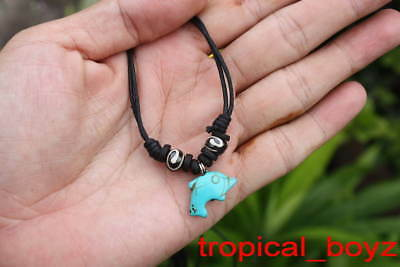 10 Handmade Blue Dolphin Spiral Bone Coconut Shell Beads Necklaces Wholesale