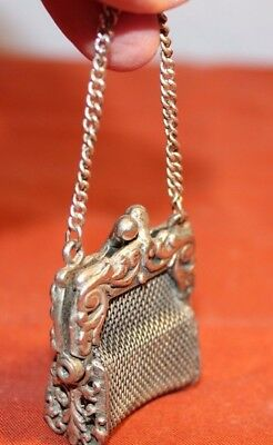 Antique/Vintage-SILVER PLATE-MESH-CHATELAINE COIN HOLDER-Hand Forged-KISS LOCK