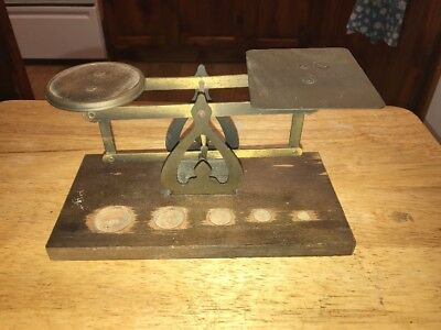 Vtg Brass And Wood Postal Scale  No Weights
