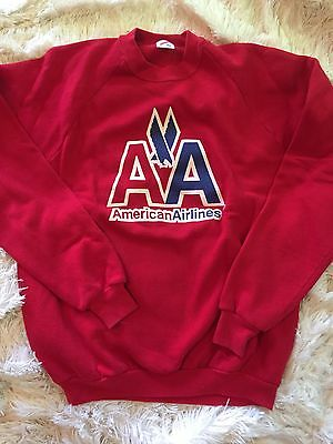 Vtg American Airlines Red Crewneck Sweatshirt Hipster Red XL