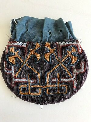 Native American Beaded Purse c.1860-90, Axes, Great Lakes or Eastern Tribe