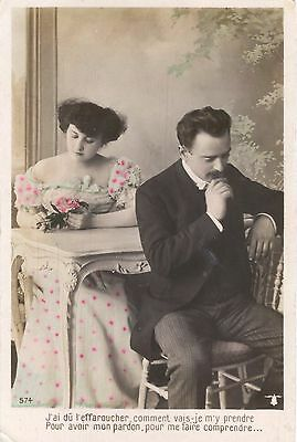 Old French Postcard: Shy Couple At Table