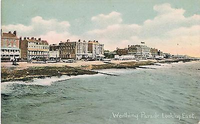 Edwardian Postcard: Worthing Parade Looking East, Sussex