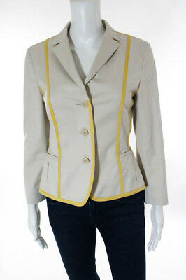 Akris Beige Trim Embellished Button Front Long Sleeve Blazer Jacket Size 6