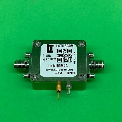 Broadband Low Noise Amplifier 1.3dB NF 100MHz to 4GHz 13dB Gain 24dBm P1dB SMA