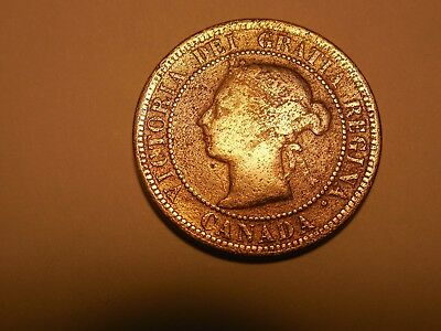 1891 Canadian LargePenny/Cent in VG condition. Corrosion.  But you decide.
