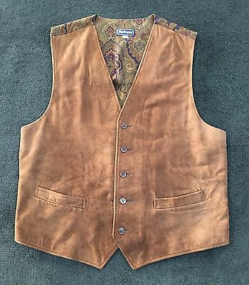 Vintage Huntington Leather Wool Paisley Vest Made In USA L