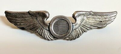 WWII US Air Force USAAF Sterling Silver Aircraft Observer Wings Military Pin J I