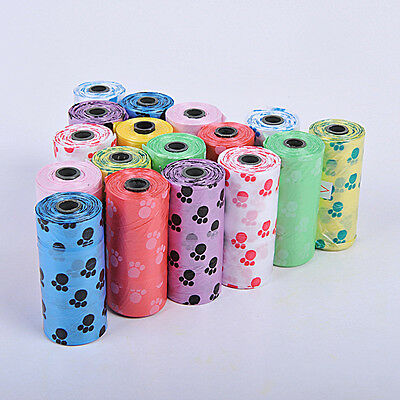 15X/Roll Claw Print Pet Dog Pick Up Waste Poop Clean Bag Plastic Degradable HOT