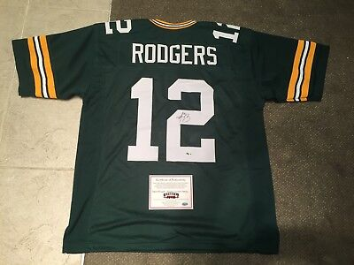Aaron Rodgers signed Green Bay Packers custom jersey with COA holograms
