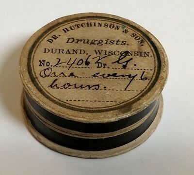 Dr. Hutchinson & Son's Durand Wisconsin Pharmacy Cardboard Pill Box