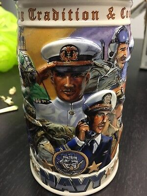 Budweiser US Navy Stein 1999 Anheuser Busch Courage & Tradition Pewter Lid