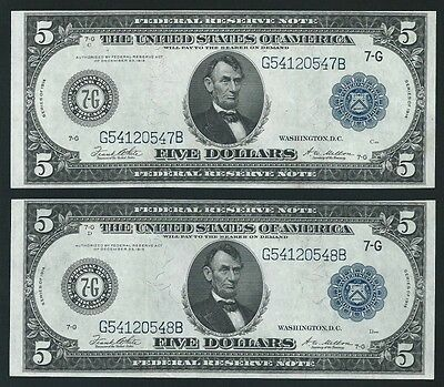 2 Consecutive 1914 $5 Federal Reserve Notes <<< Type B >>> Chicago High Grade