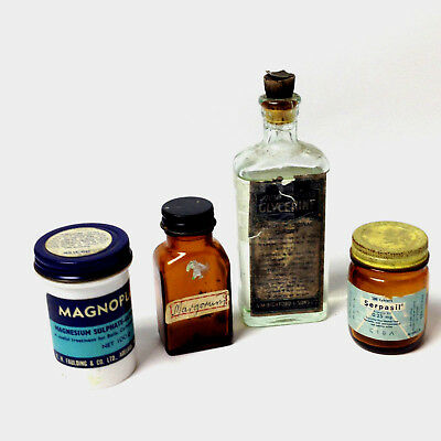 Lot of Vintage Medical Bottles Pharmacy Apothecary Jars & Bottles