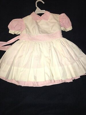 Vintage 1940's Pink White Baby Infant Girl Party Dress Shirley Temple