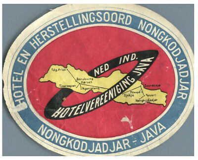 Hotel En Herstellingsoord, Nongkodjad, Java, Indonesia  Luggage Label c1920-30's