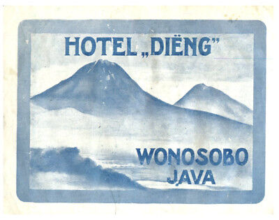 Hotel Dieng, Wonosobo, Java, Indonesia  Luggage Label c1920-30's