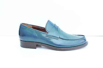Loafers man Rossetti leather blue