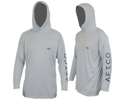 (Large, Silver) - AFTCO Samurai Hooded Performance Long Sleeve Shirt