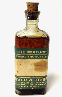 Vintage TIVER & TIVER Bottle Chemists South Australia Apothecary Pharmacy