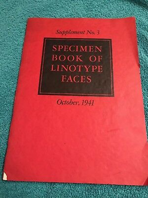 Vintage Specimen Book of Linotype Faces - October 1941 Supplement No. 3