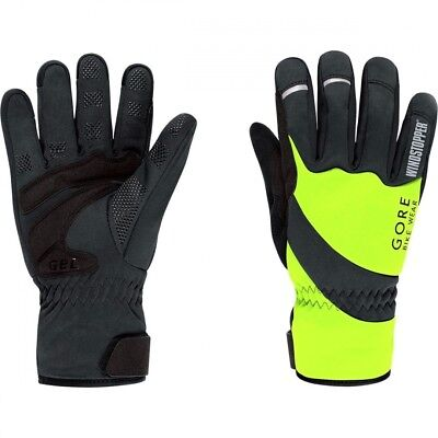 (Large, Neon Yellow/Black) - GORE BIKE WEAR Universal Windstopper Thermo Gloves