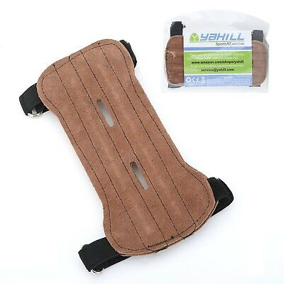 (Brown) - Yahill® Hunting Archery Armguard Leather Arm Guard with Two Straps
