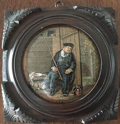 A Original VICTORIAN Highly Detailed Prattware Pot lid In Frame15cmx15cm