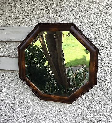 Antique Oak Mirror, Octagonal Mirror, Antique Wooden Wall Mirror.