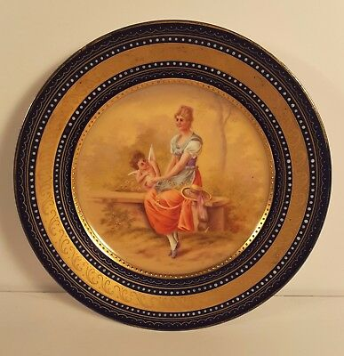 Antique 1890s Royal Vienna Beehive Portrait Cabinet Plate Signed