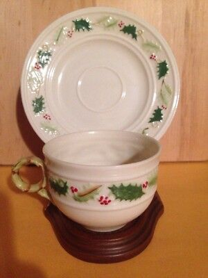 Irish Belleek Holly Holiday Tea Cup & Matching Saucer 7th Mark (1980-93)