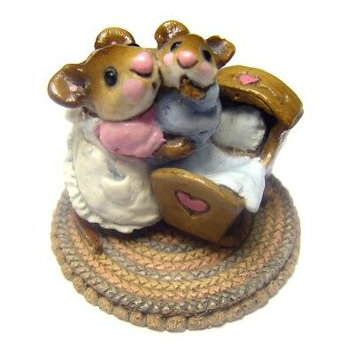 Wee Forest Folk WFF Beddy-Bye Mousey Crib M069 M69 Collectible Mouse Figurine