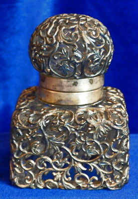 Antique Sterling Silver Filigree Over Glass Inkwell