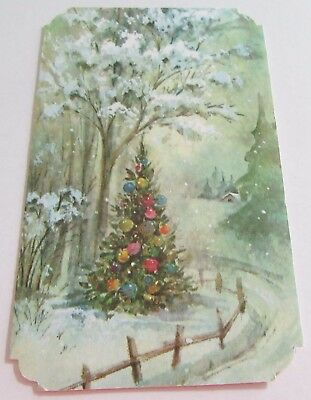 Used Vtg Christmas Card Christmas Tree w Ornaments in Snowy Scene by Fence