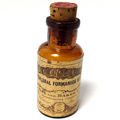 Antique A.H.Bickford & Sons CHLORAL FORMAMIDE B.P. Bottle Apothecary Pharmacy