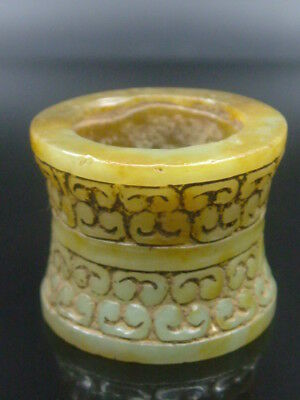 """Antique Old Chinese Celadon Nephrite -Jade  Rare funnel Thumb Ring"""""""