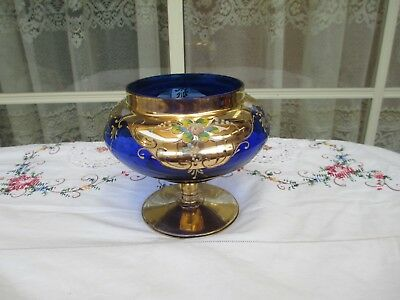 Vintage Colbalt Blue And Gilt Bowl With Applied Flowers Estate Find