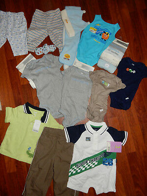 NEW 17 pc baby clothes lot boys 3-18 mths onsies pants tops bottoms hat creepier