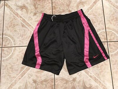 Mens Nike Mesh Shorts Size L Large Black Pink Athletic Fit Running Polyester EUC