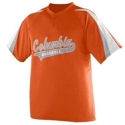 (Adult Small, Orange/White/Silver) - 3-Coloured Sleeve 2-Button Jersey