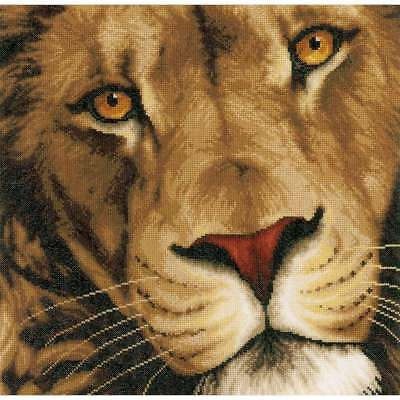 """LanArte King Of Animals On Cotton Counted Cross Stitch Kit 13.75"""" 499994873927"""