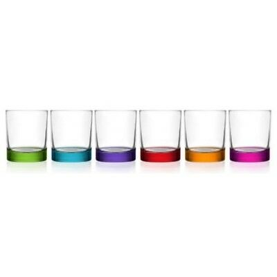 6 Clear Glass Tumbler Water Drinking Glasses Drink Tumblers Colour Base 290ml